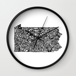 Typographic Pennsylvania Wall Clock