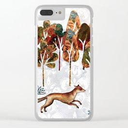 Fox in winter landscape Clear iPhone Case