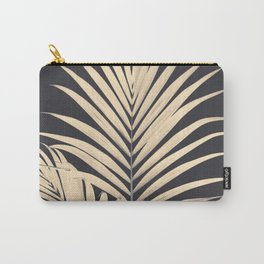 Inverted Vision | White sepia palm tree leaf photography on grey black Carry-All Pouch