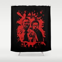 shaun of the dead Shower Curtains featuring Shaun of the dead blood splatt  by Buby87