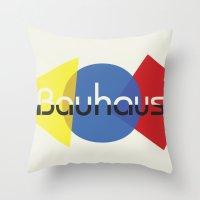 bauhaus Throw Pillows featuring Bauhaus by Dennis Wilson