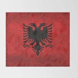 Albanian Flag in Vintage Retro Style Throw Blanket
