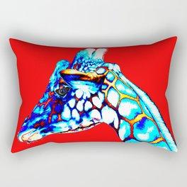 Colorful Giraffe Red (Left facing) Rectangular Pillow