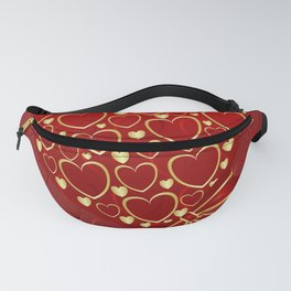 Gold hearts on rich red Fanny Pack