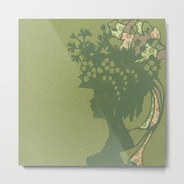 Garden Hat Chic:  Stylish Lady in hat silhouette with olive green and a bit of pink Metal Print