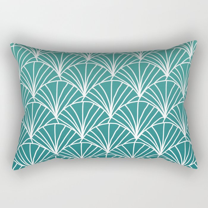 White scallops pattern on deep emerald blue ombre gradient pattern Rectangular Pillow