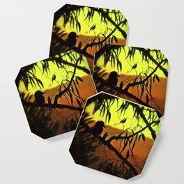 Kookaburra Silhouette Sunset Coaster