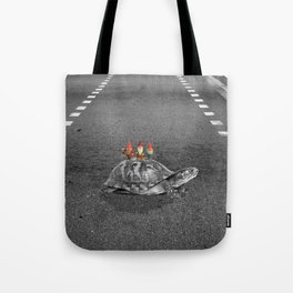 gnomes on a turtle Tote Bag