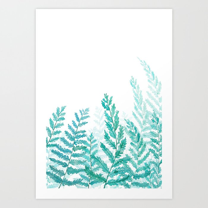 green fern watercolor Art Print