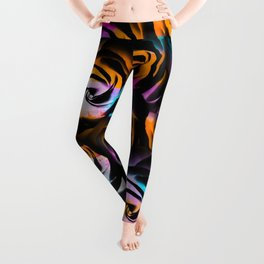 black rose texture abstract with painting abstract in orange pink blue Leggings