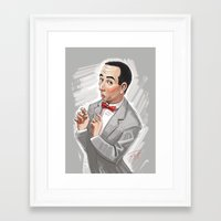pee wee Framed Art Prints featuring Pee Wee Herman by Michael Jared DiMotta Illustrations
