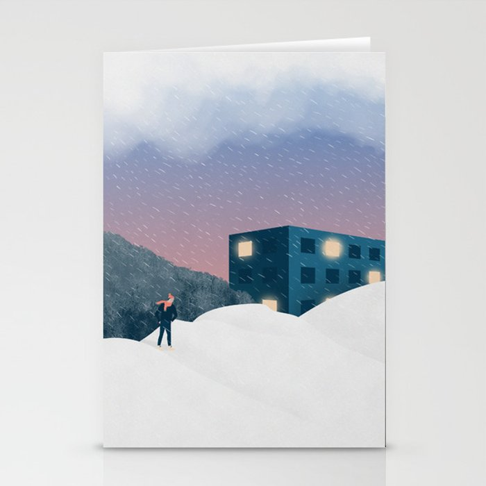 Winter evening Stationery Cards