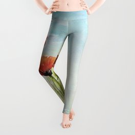 Red Flowers Watercolor Poppies Leggings