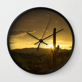 A Golden Saguaro Sunrise Wall Clock