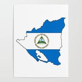 Nicaragua Map with Nicaraguan Flag Poster