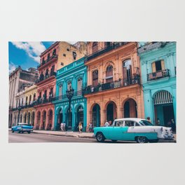 Vintage Cuban colorful building and cars Rug