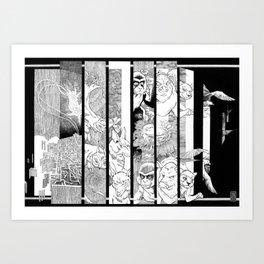 TV Animals in B/W Art Print