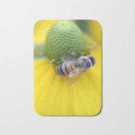 Honeybee on Yellow Bath Mat