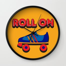Roll On Rollerskate Wall Clock
