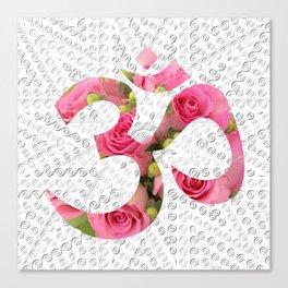 Aum Rose Silver Mandala Canvas Print