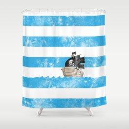 Pirates Love Stripes Shower Curtain