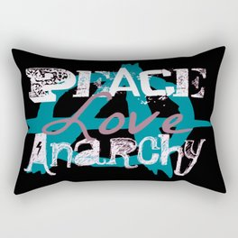 Peace Love Anarchy in Blue Rectangular Pillow