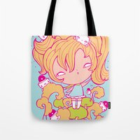police Tote Bags featuring Mushroom police by Kat Kalindi Cameron