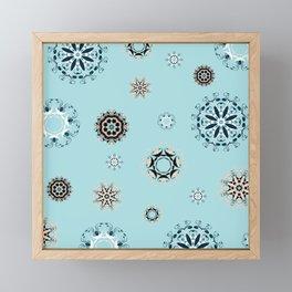 Blue Mandala, Pattern, Digital Design, Shapes Framed Mini Art Print