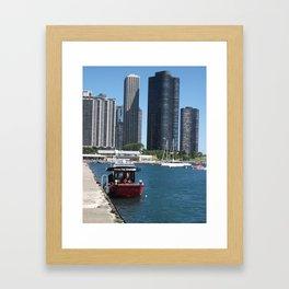 Chicago Fire Department, Chicago Shoreline, Skyline Framed Art Print