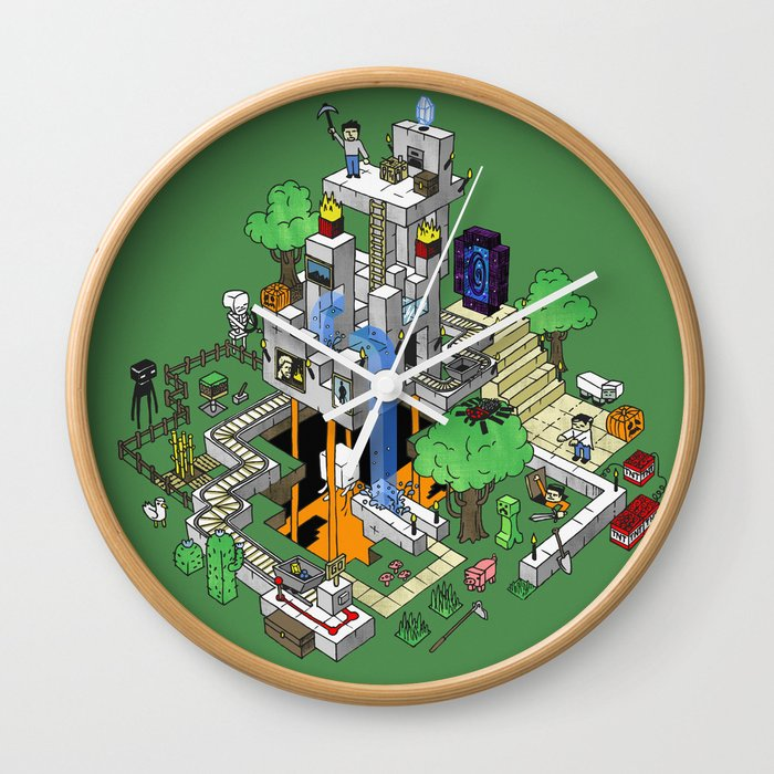 Mine City Wall Clock By Mattchinworth Society6