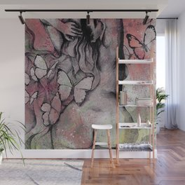 Sugar Coated Sour: Pomegranate (nude curvy pin up with butterflies) Wall Mural