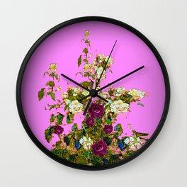 lilac PURPLE whiteb ROSESpurple ROES garden Wall Clock
