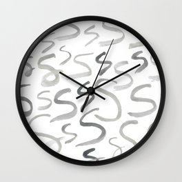Watercolor S's - Grey Gray Wall Clock