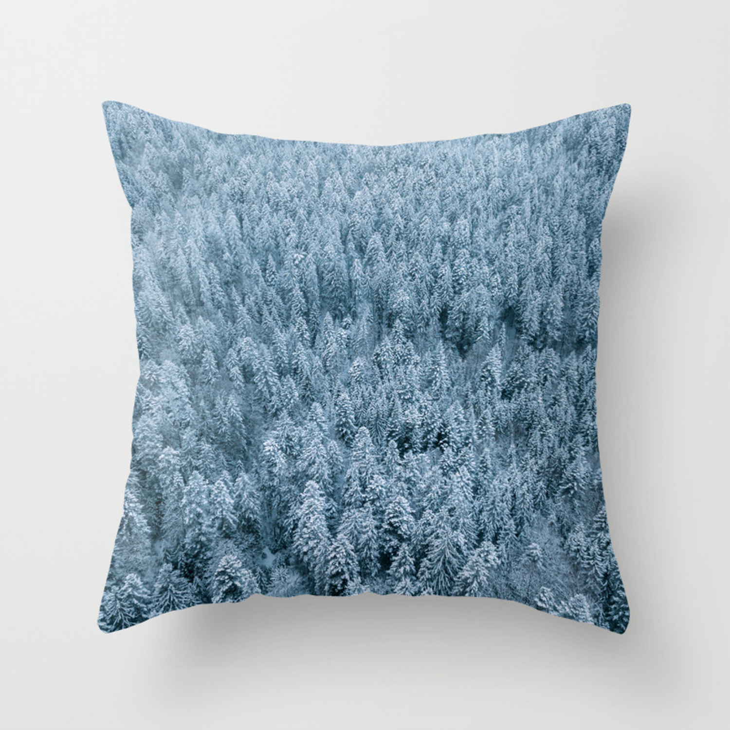 Winter Pine Forest Aerial Landscape Photography Throw Pillow By Regnumsaturni Society6