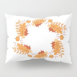 Wreath of colorful autumn leaves, berries, pumpkins and flowers Pillow Sham