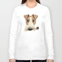 terrier Long Sleeve T-shirts featuring fox terrier sailor by dogooder