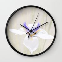 iris Wall Clocks featuring Iris by Judith Lee Folde Photography & Art