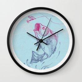 Bass jumping In Blue Circle3 Wall Clock