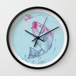 Largemouth Bass Jumping Out Of Water In Blue Circle  // Spinner Lure // Splashing Water // Fish On! Wall Clock
