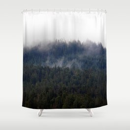 Misty Pine Trees Pacific Northwest Shower Curtain