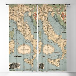 1935 Vintage Map of Italy and Vatican City Blackout Curtain