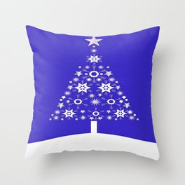 Christmas Tree Made Of Snowflakes On Purple Background  Throw Pillow