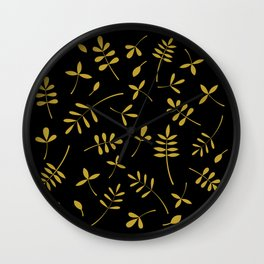 Gold Leaves Design on Black Wall Clock
