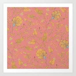 Paradise Florals - Coral & Yellow Art Print