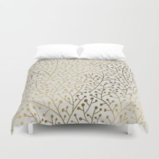 Gold Berry Branches Duvet Cover