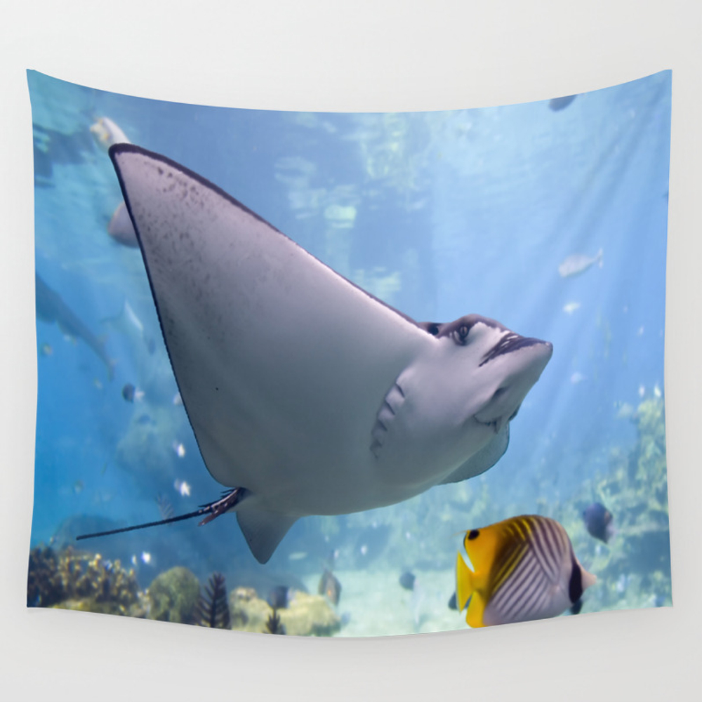Coral Reef Manta Ray Wall Tapestry by Productsbyme TPS2691992