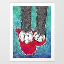 Little Grey Kitty Paws Art Print