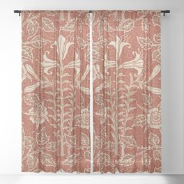 Red Lily and Rose by Walter Crane Sheer Curtain