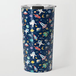 Outer Space Astronauts Aliens Pattern Blue Travel Mug