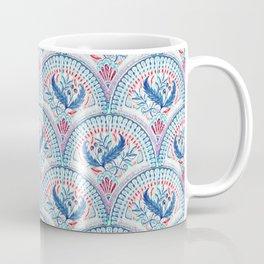 Art Deco Fresco in Cool Mediterranean Blue and Red Coffee Mug